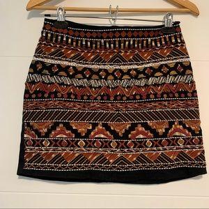 H&M | Beaded Patterned Mini Skirt Size 8